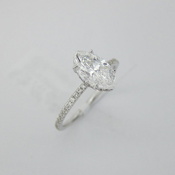 1.71CT Marquise Cut Solitaire Diamond Ring 18K White Gold -ASM13096-E-171