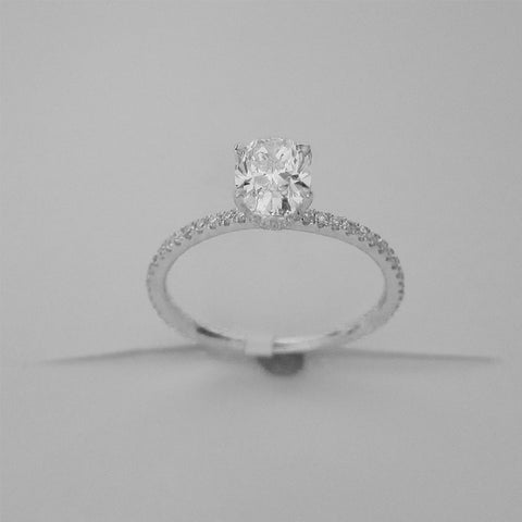 1.10CT Oval Cut Solitaire Diamond Ring 18K White Gold -ASM13101-E-110