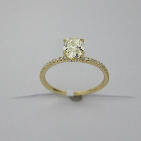 1.20CT Oval Cut Solitaire Diamond Ring 18K Yellow Gold -ASM13101-E-120