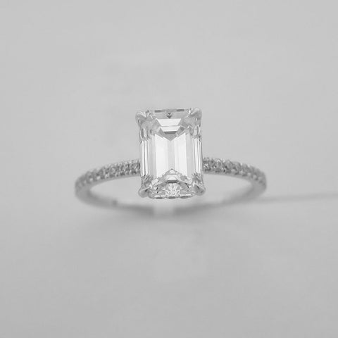 1.30CT Emerald Cut Solitaire Diamond Ring 18K White Gold-ASM13095-E-130
