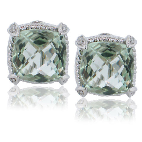 11.49CTW Green Amethyst and Diamond Earrings F SI 18K White Gold - IDJ011964