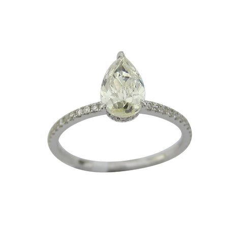 1.21CT I-J SI1 Pear Cut Solitaire Diamond Ring 18K White Gold -ASM13097-E-121