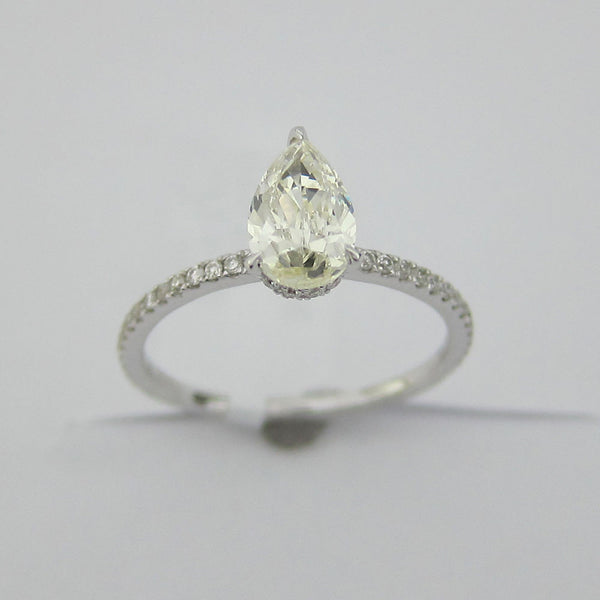 1.21CT I-J SI1 Pear Cut Solitaire Diamond Ring 18K White Gold -EBASM13097-E-121
