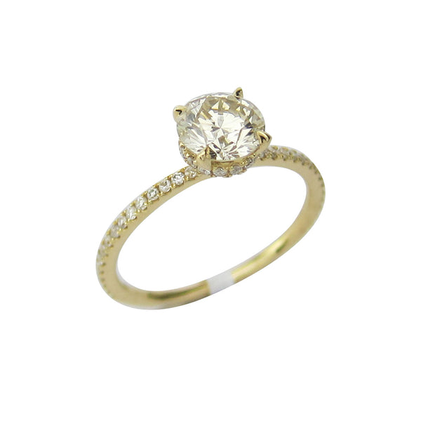 1.20CT I-J VS1 Round Cut Solitaire Diamond Ring 18K Yellow Gold -ASM13098-E-120