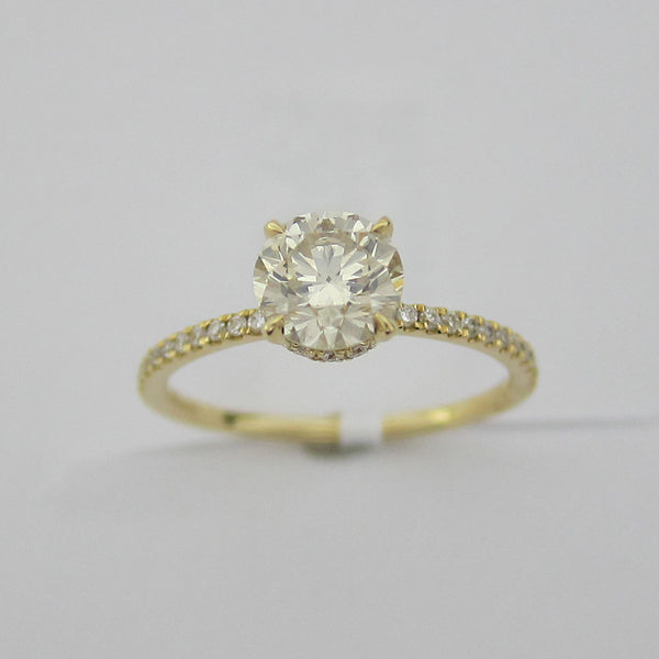 1.20CT I-J VS1 Round Cut Solitaire Diamond Ring 18K Yellow Gold -EBASM13098-E-120