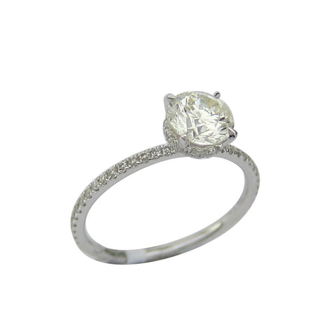1.06CT H-I SI2 Round Cut Solitaire Diamond Ring 18K White Gold-ASM13098-E-106