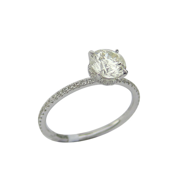 1.37CT Round Cut Solitaire Diamond Ring 18K White Gold -ASM13098-E-137