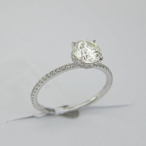 1.06CT H-I SI2 Round Cut Solitaire Diamond Ring 18K White Gold-EBASM13098-E-106