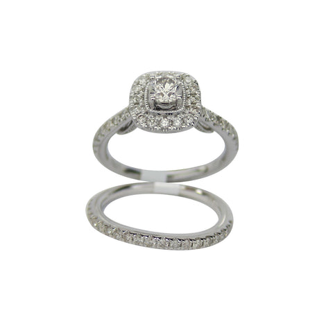 1.00CT G-H SI Diamond Ring plus Band in 14K White Gold -SKD2169991