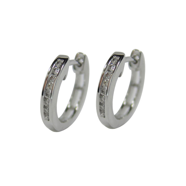 0.15 CT G H / SI 10K White Gold Diamond Hoop Earrings channel set -SKE14381-15
