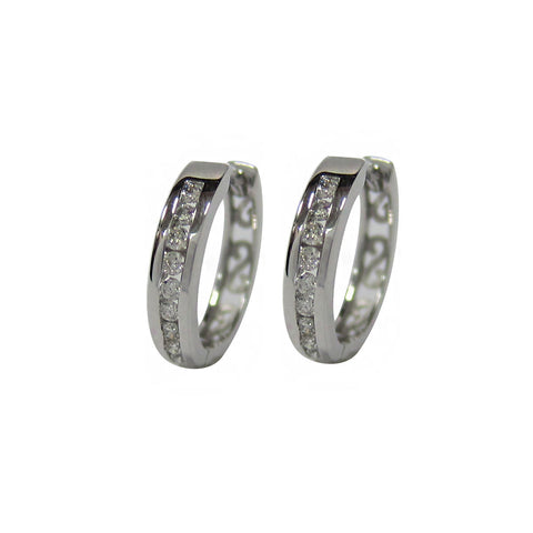 0.25 CT G H / SI 10K White Gold Diamond Hoop Earrings channel set -SKE14381-25