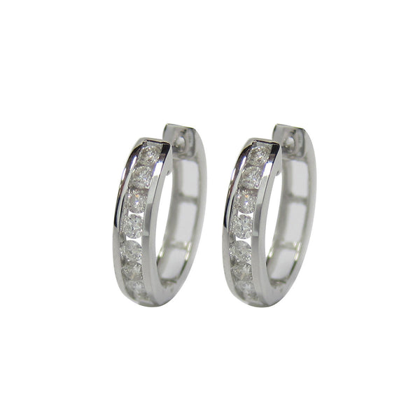 0.50 CT G H / SI 10K White Gold Diamond Hoop Earrings channel set -SKE14381-50