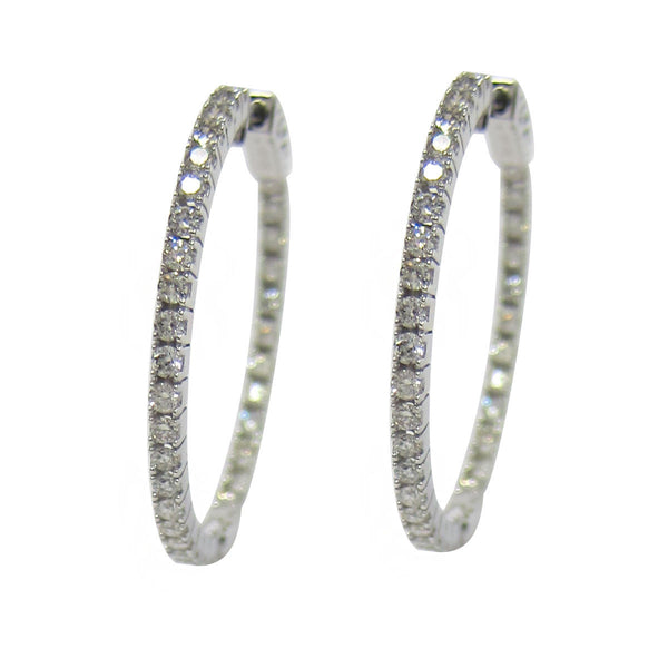 1.50 CT G H SI 14K White Gold Diamond Hoop Earrings -SKE2186-150