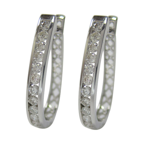 1.00 CT G H / SI 14K White Gold Diamond Hoop Earrings set as channel -SKE3329-100