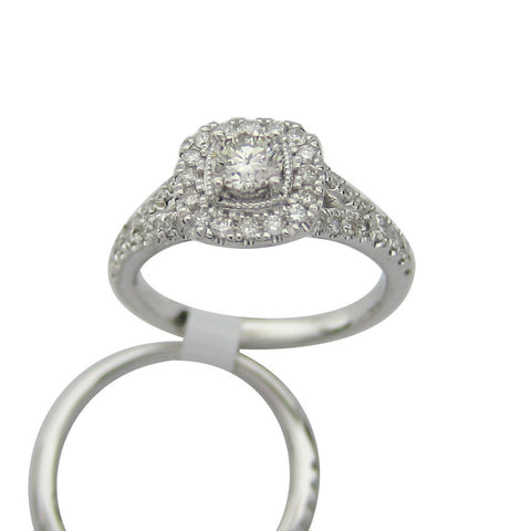 1.00CT G SI Round Cut Diamond Ring and Band in 14K White Gold - SKR18549-100