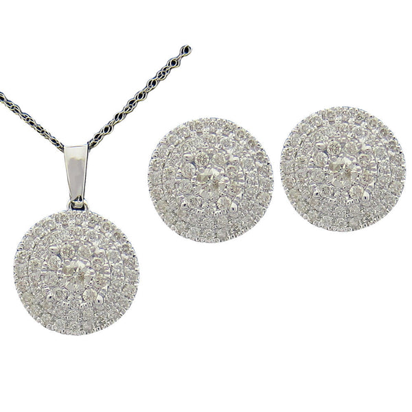 1.00CT Diamond Earrings and Pendant G-H SI 14K White Gold Cluster Style -SKS17115-100
