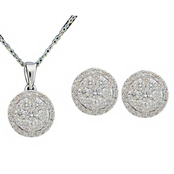 1.00CT G SI Diamond Earrings and Pendant 14K White Gold Cluster Matching set -SKS18470-100