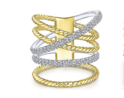 Gabriel & Co 14k Yellow/white Gold Twisted Ladies Ring LR51308M45JJ