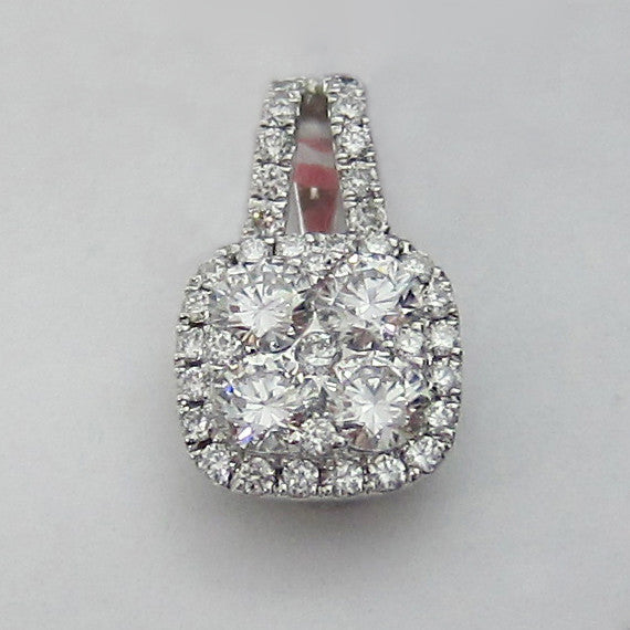 0.70CT F SI1 Cluster Round Cut Diamond Pendant in 18K White Gold - IDJ014908