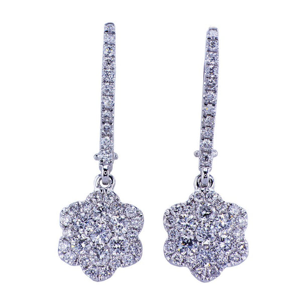 0.98Ct 18K White Gold Diamond Cluster Earrings 015297