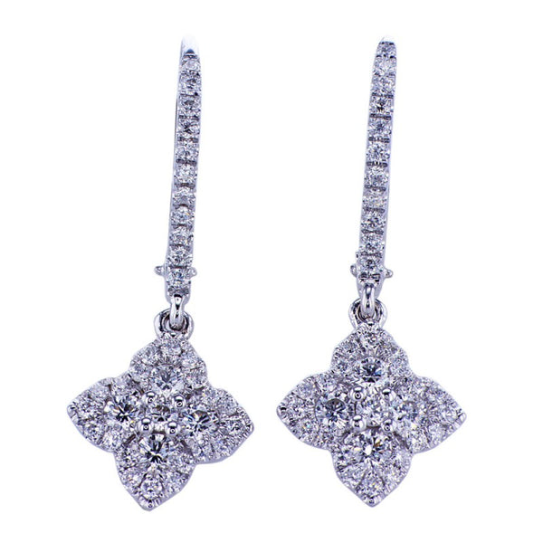 0.82CT 18K White Gold Diamond Hanging Earrings 015314