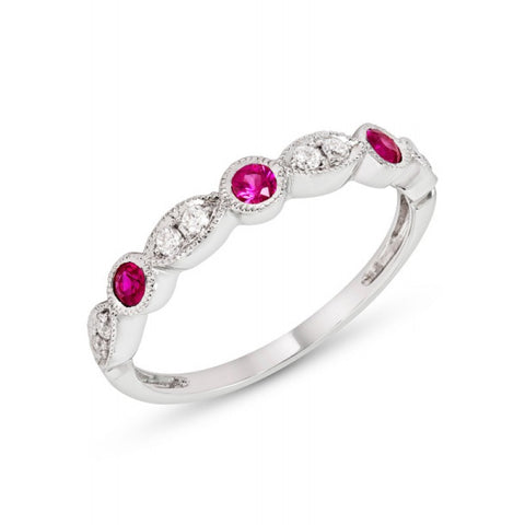 0.35CT Ruby and Diamond Band with Milgrain F SI 14K White Gold 015112