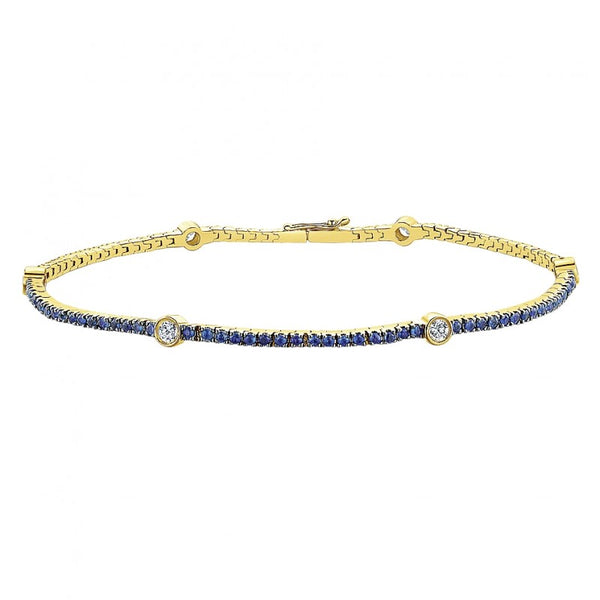 Gabriel & Co Sapphire and Diamond Bracelet set in 14kt Yellow Gold TB4006Y45SA