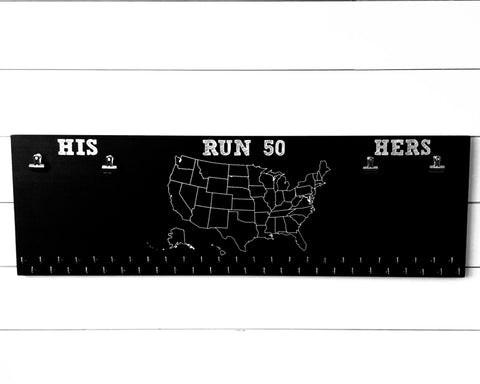 Run 50 States Medal Holder with His and Hers bib clips and 50 hooks on Chalkboard 36""