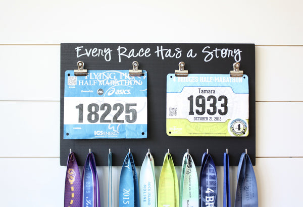 Running Race Bib and Medal Holder - Every Race Has a Story - York Sign Shop - 2