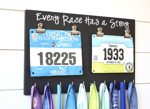 Running Race Bib and Medal Holder - Every Race Has a Story - York Sign Shop - 1