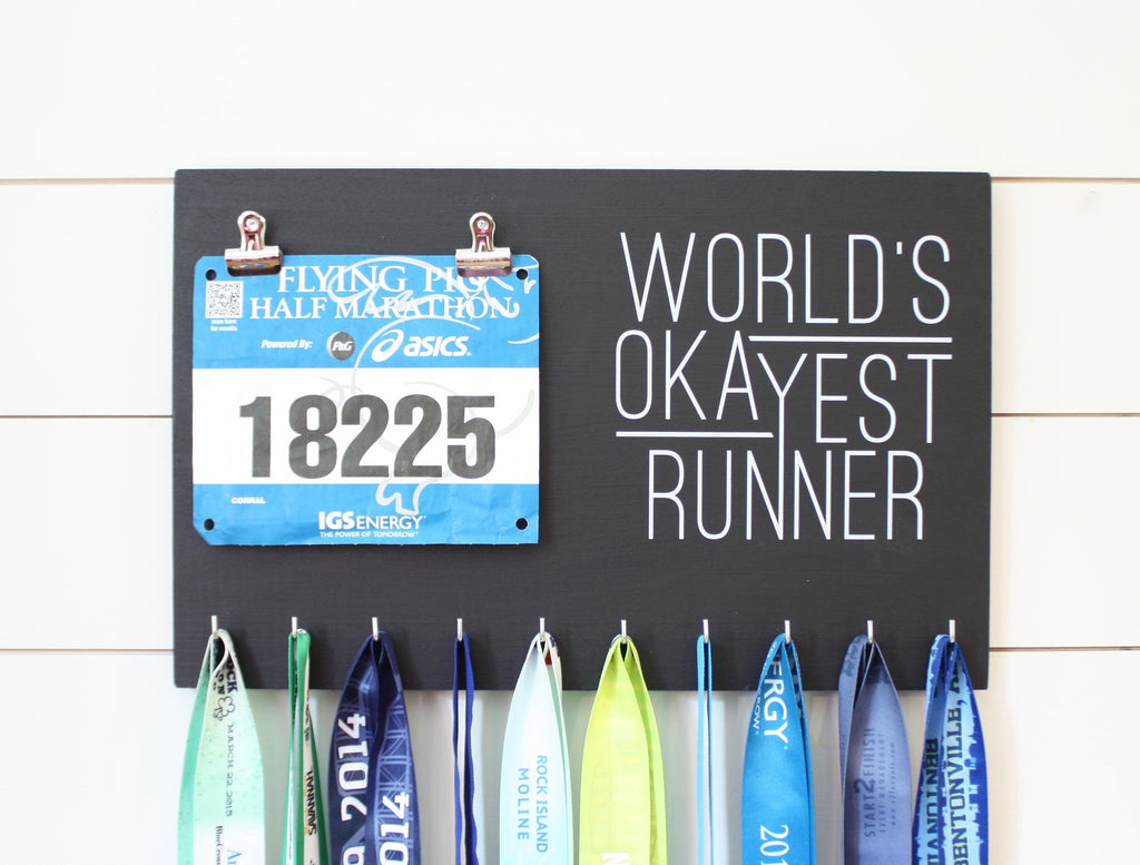 Race Bib & Medal Holder - World's Okayest Runner - York Sign Shop - 1