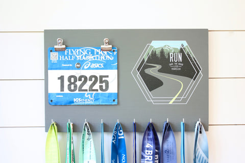 Race Bib & Medal Holder - Run Take the road less traveled - York Sign Shop - 1
