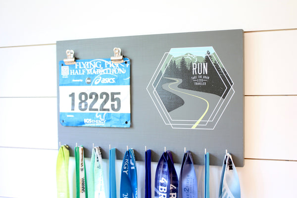 Race Bib & Medal Holder - Run Take the road less traveled - York Sign Shop - 2