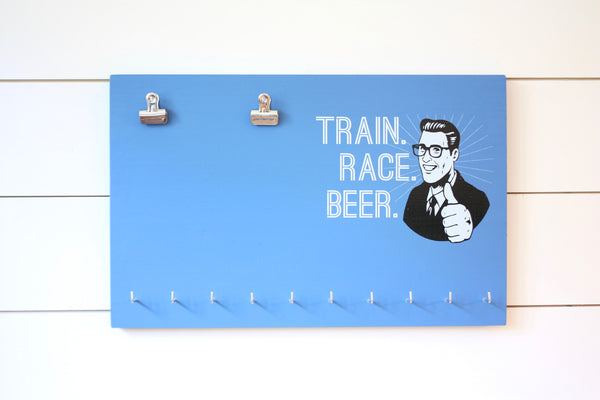 Race Bib & Medal Holder - Train Race Beer - York Sign Shop - 3