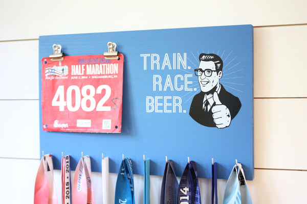 Race Bib & Medal Holder - Train Race Beer - York Sign Shop - 2