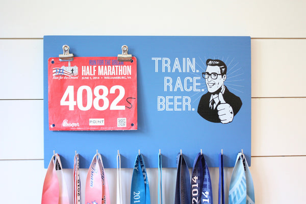 Race Bib & Medal Holder - Train Race Beer - York Sign Shop - 1