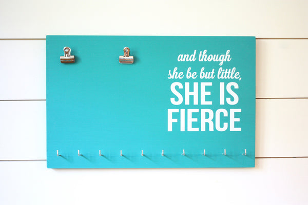 Race Bib & Medal Holder - And though she be but little, she is fierce - York Sign Shop - 2