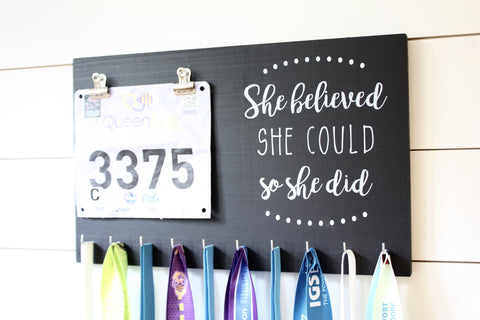 Race Bib & Medal Holder - She Believed She Could So She Did - York Sign Shop - 1