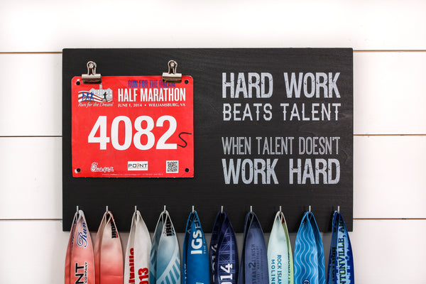 Running Race Bib and Medal Holder - Hard Work Beats Talent
