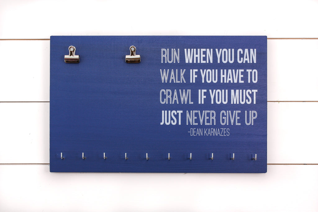 Bib and Medal Holder - Run When You Can Dean Karnazes Quote