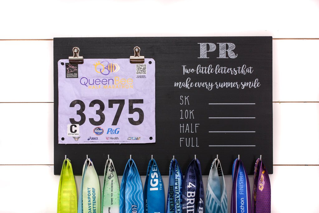 PR Race Bib and Medal Holder with Feminine Fonts- 5K, 10K, Half, & Full