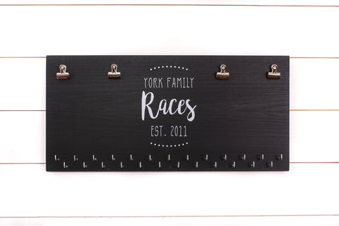 Personalized Family Race Bib and Medal Holder - Couple - Extra Large Size