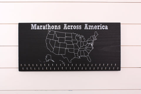 Marathons Across America - 50 States Medal Holder with 50 hooks on Chalkboard, Run 50