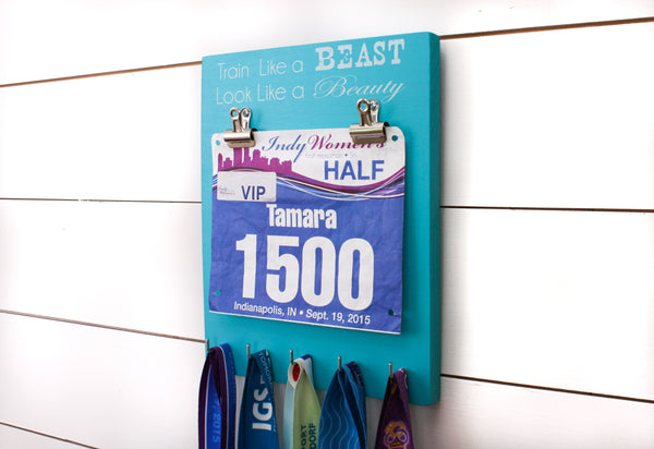 Running Race Bib & Medal Display - Train Like a Beast Look Like a Beauty