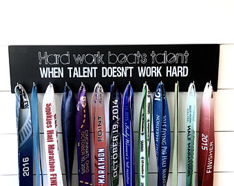 Running  Medal Holder- Hard Work Beats Talent When Talent Doesn't Work Hard - Large
