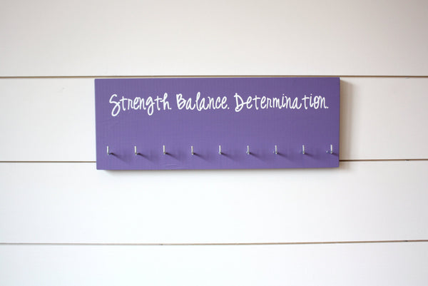 Gymnast Medal Holder / Display - Strength. Balance. Determination. - Medium - York Sign Shop - 1