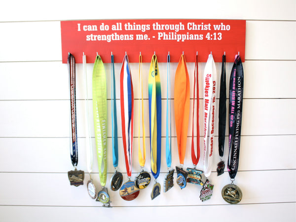 Medal Holder - Christian Bible Verse Philippians 4:13 - Large - York Sign Shop - 3