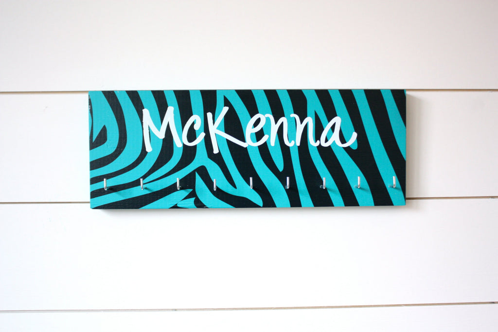 Medal Holder - Zebra Print Personalized - Medium - York Sign Shop - 1