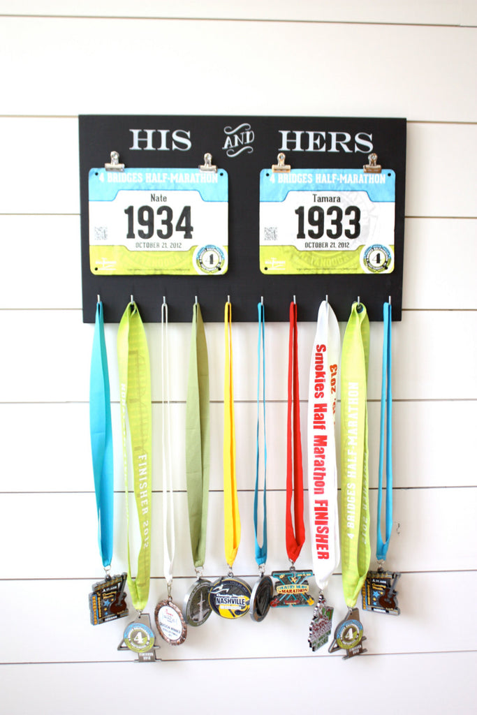 Gift for Runners - Couple - Race Bib and Medal Holder - His and Hers - York Sign Shop - 1
