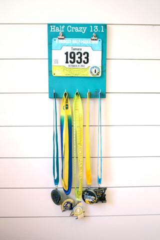 Half Marathon Race Bib & Medal Holder - Half Crazy 13.1 - York Sign Shop - 1